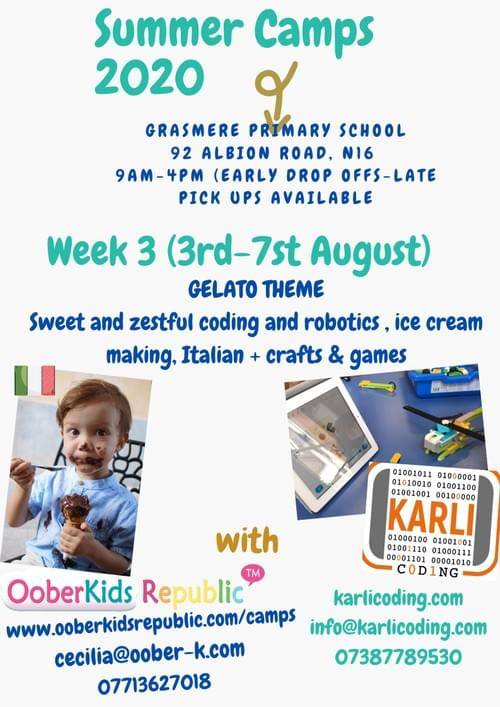 Summer Camps 2020 Week 3 (3rd-7th August) -  Yummy Gelato making & Coding/Robotics  - Weekly Pass