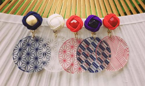 伝統柄 Nippon 麻の葉(Asa-no-ha) イヤリング Clip on earrings