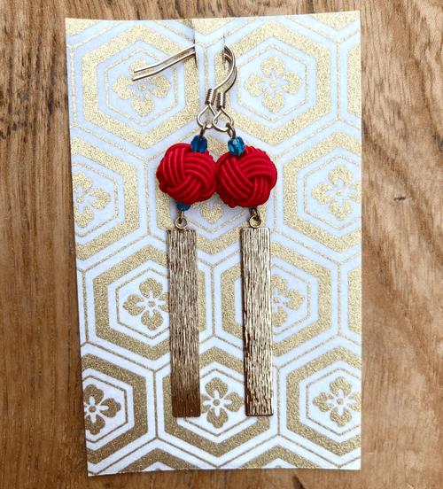 舞妓びら Maiko-bira ピアス Earrings (赤 red)