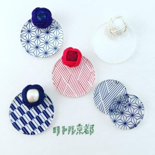 伝統柄 Nippon 麻の葉(Asa-no-ha)クリップイヤリング Clip on earrings