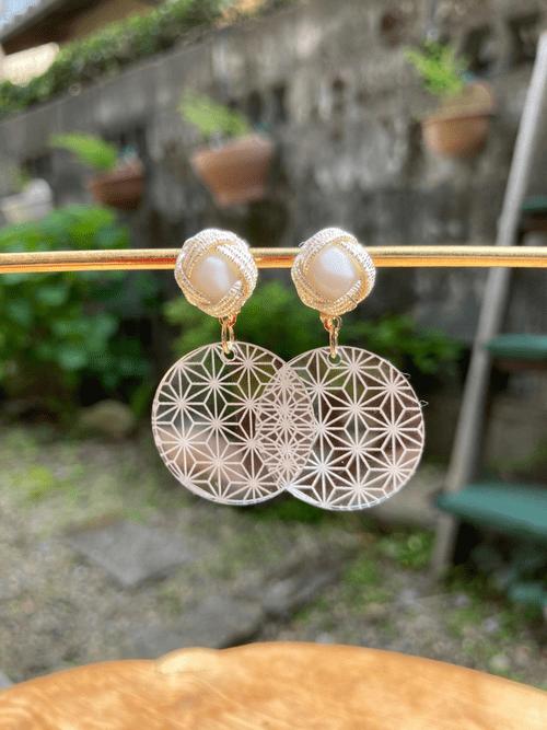 伝統柄  Nippon 麻の葉(Asa-no-ha) ピアス Earrings