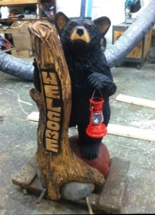 4' Welcome Bear with Lantern