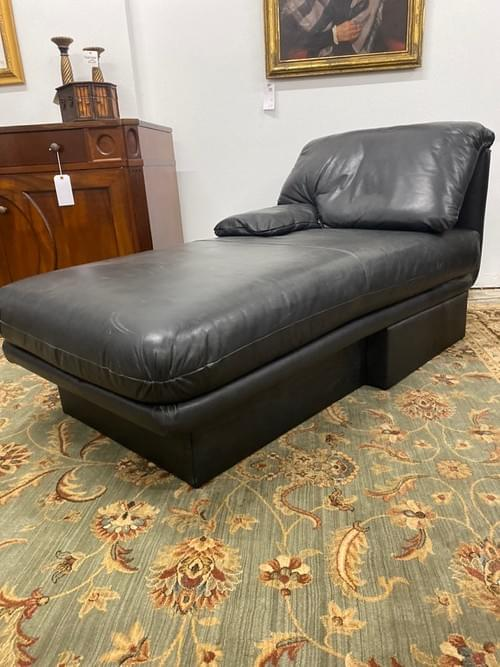 Bernhardt Leather Chaise Lounge Chair