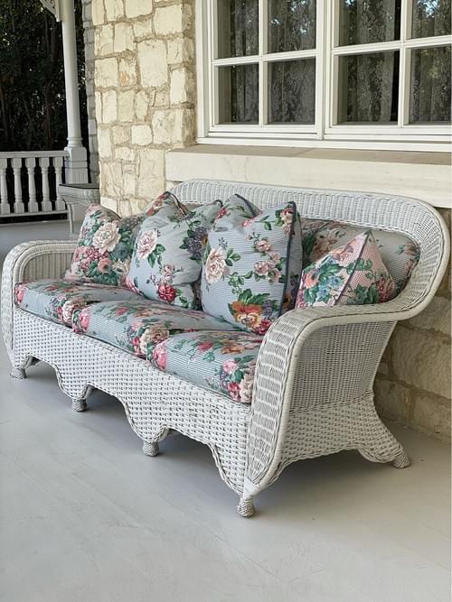 Bar Harbor Style Wicker 3 Cushion Sofa