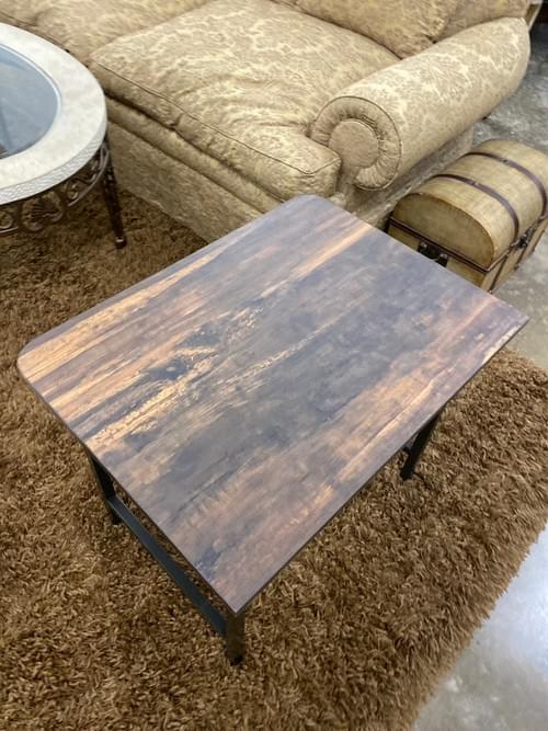 Modern High End Tiger Wood End Table with Metal Base