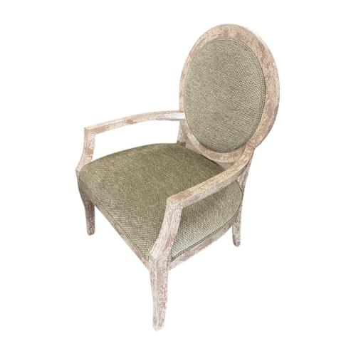 Farmhouse Style Solid Wood Arm Wingback Chair with Sage Color Cushion
