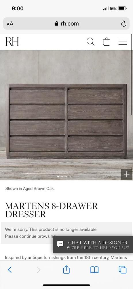 RESTORATION HARDWARE MARTENS 8-DRAWER DRESSER