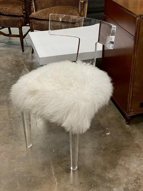 Interlude Tristan Modern Classic Ivory Sheepskin Acrylic Dining Side Chair