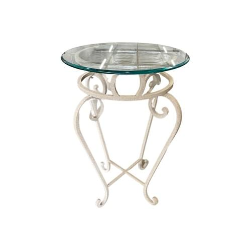 Round End Table with White Metal Base and Glass Top