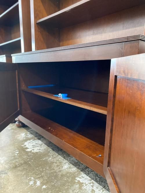 Tall Wood Bookshelf with Lower Cabinet