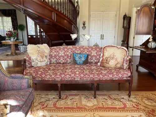 Early 20th Century French Oak Carved Needlework Settee
