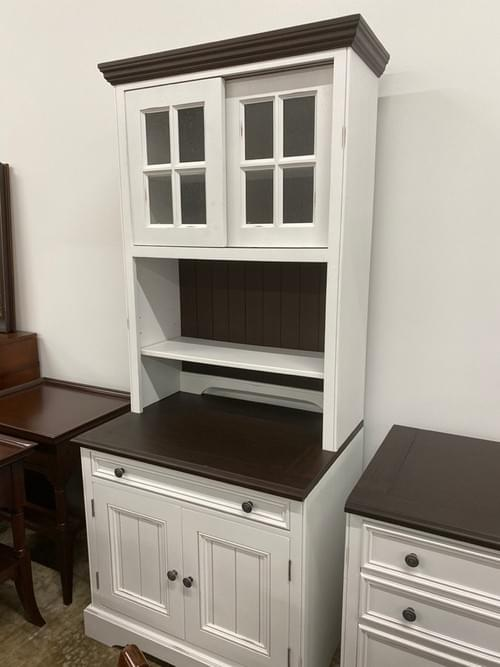 White Shelving Unit with Dark Wood Accents