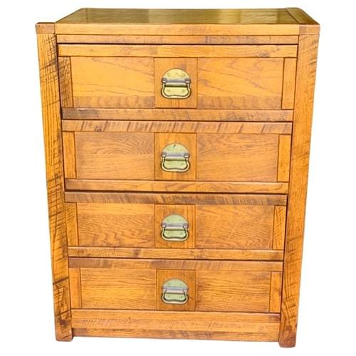 Wooden Chest of Drawers with Gold Hardware