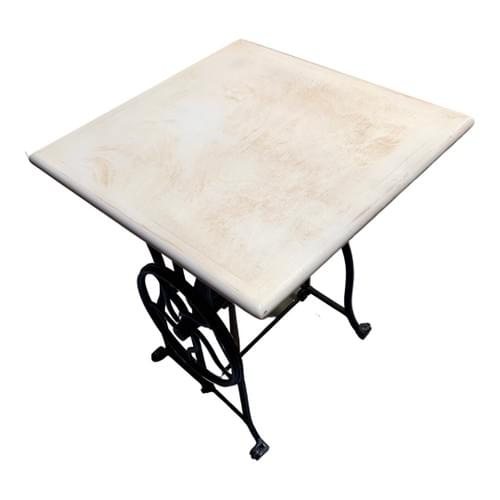 Side Sewing Table with Farmhouse Style Wood Table Top & Metal Base