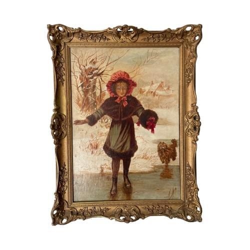 Oil on Canvas Painting – Girl Walking Across Frozen Lake