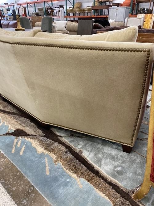 Cream Nailhead Rounded Sofa