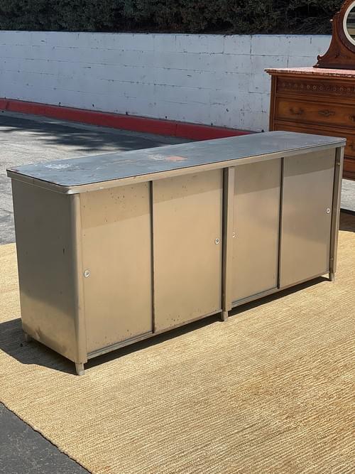 Vintage Retro Tanker Credenza Metal Grey