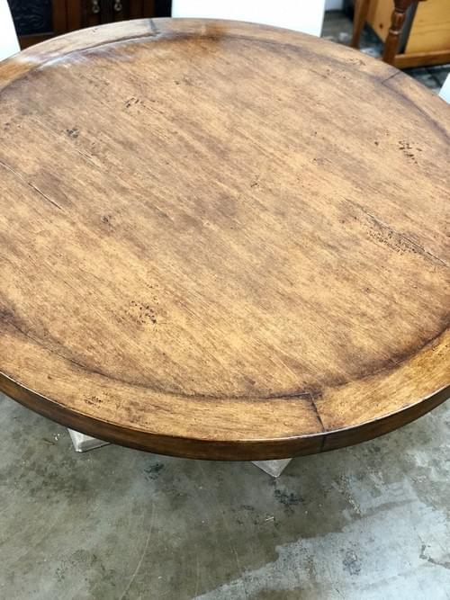Michael Taylor Slab Top Round Wood Table + Faux Stone Base