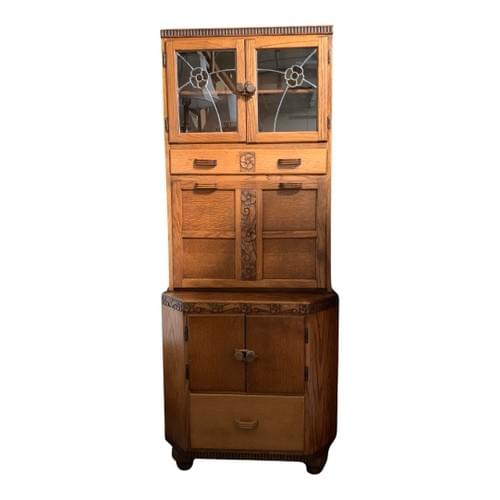 Antique Oak Cabinet, Stain Glass Accents