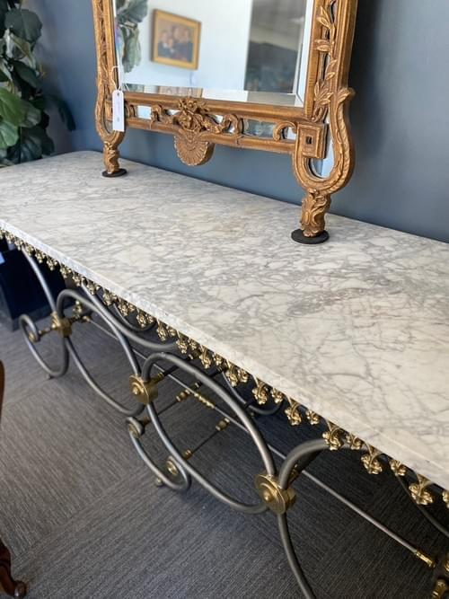 19th Century French Polished Brass & Metal Butcher Table with Marble Top