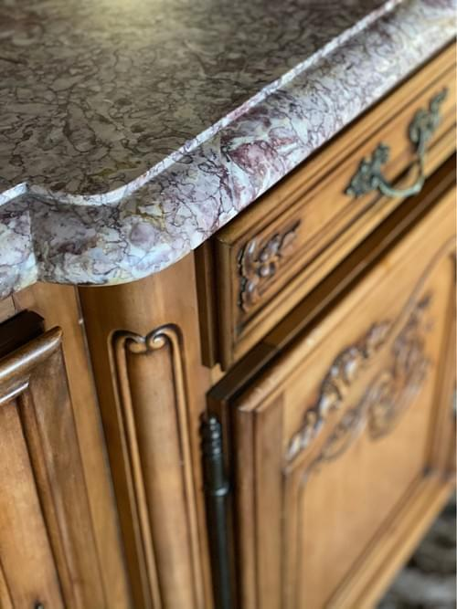 Vintage French Louis XV Country Style Buffet with Marble Top