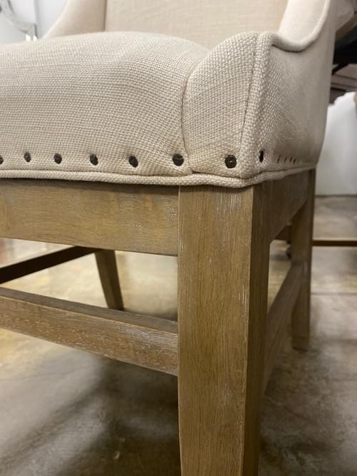 Upholstered Accent Armless Chair with Nailheads