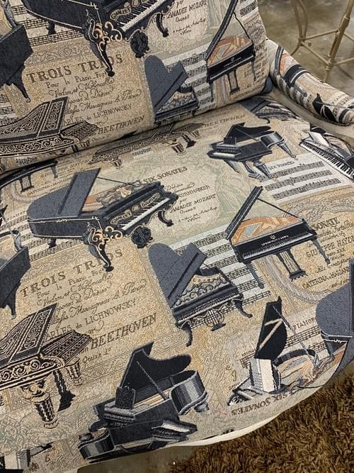 Farmhouse Arm Side Chair with Piano Printed Fabric