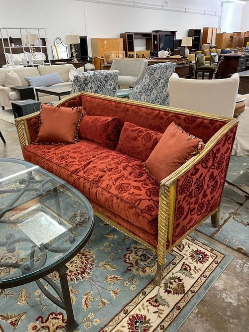 Victorian Red & Gold Settee Loveseat