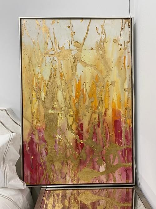 Large Canvas Pink/Gold Wall Painting