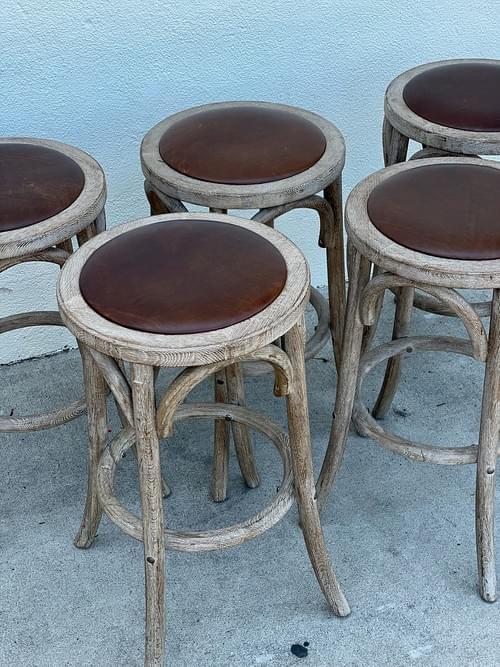 Restoration Hardware Madeleine Backless Leather Stools