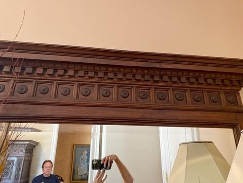 Asian Inspired Hand Carved Wood Antique Dresser with Mirror