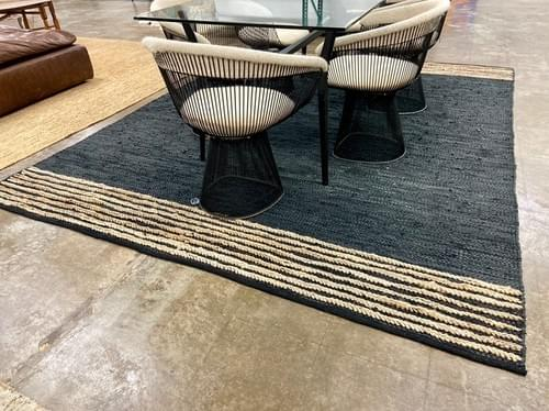 Black Jute and Leather Area Rug 8' x 10'