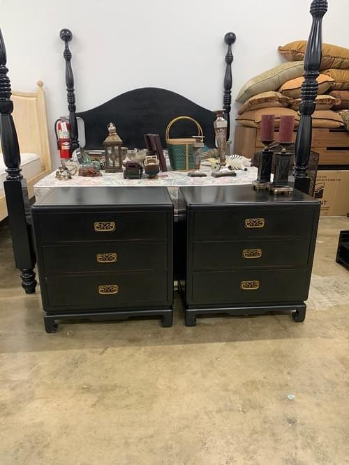 Pair of Bernhardt Black Nightstands with Gold Hardware