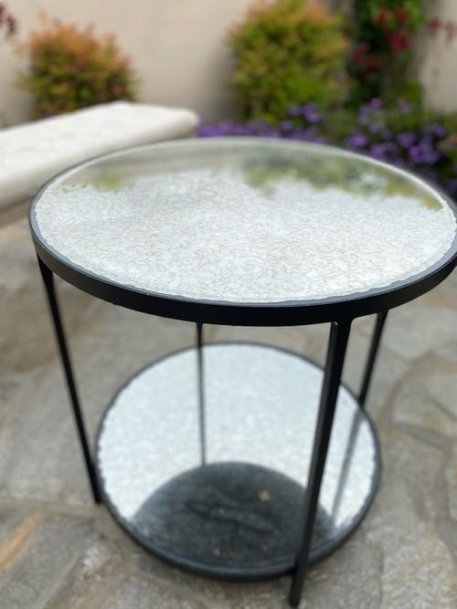 Mirrored Metal Base Accent Side Table