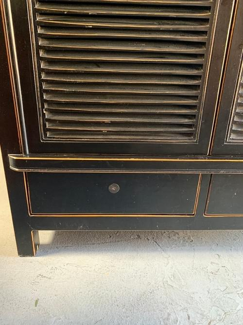 Large Black with Gold Lining Papier-mâché Like Cabinet, Armoire, Media