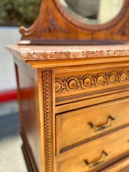 Antique Hand Carved Dresser With Oval Mirror & Granite Top