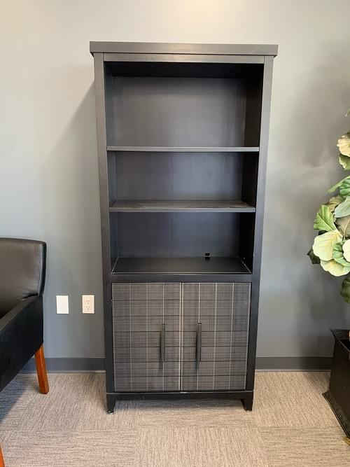 Tall Gray Book Shelf, with Cabinet