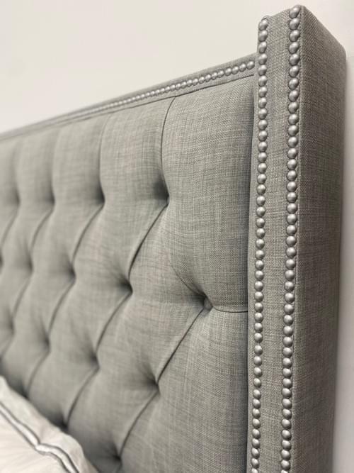 Tufted Gray Nailhead Headboard Queen Bed Frame + Mattress