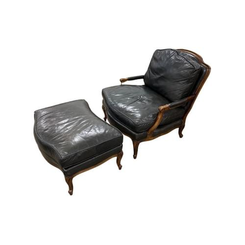 Leather Black Arm Chair with Ottoman, Wood Detail Accents