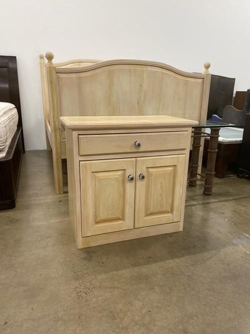 Light Wood Queen Bed with Matching Nightstand