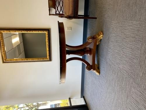 Black Round Marble Table Top with Wood Base, Gilt Accents
