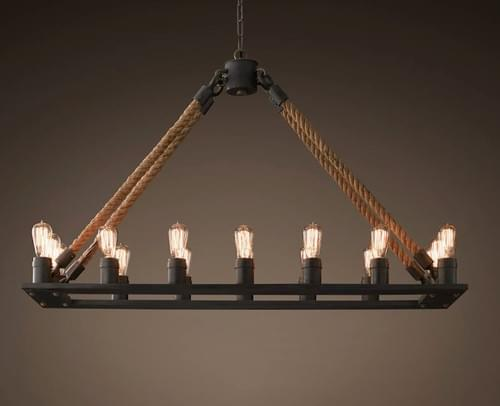 "Restoration Hardware Rope Filament Rectangular Chandelier 49"""