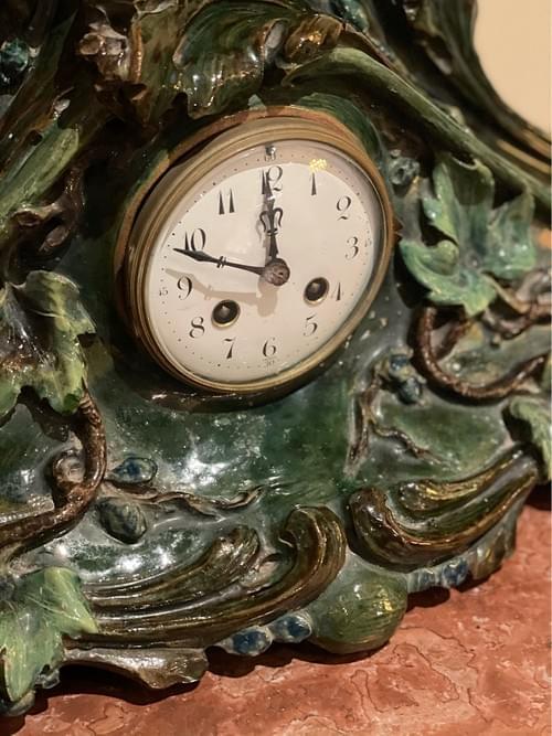 18th Century French Majolica Mantel Clock