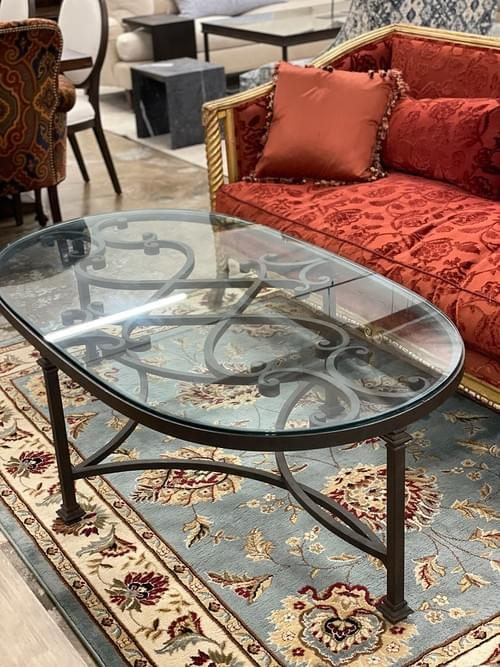 Tuscan Wrought Iron Indoor Outdoor Glass Coffee Table