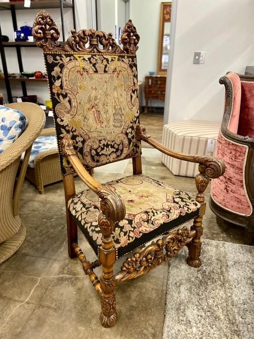 Old World Hand Carved Accent Chair With Embroidered Tapestry Upholstery