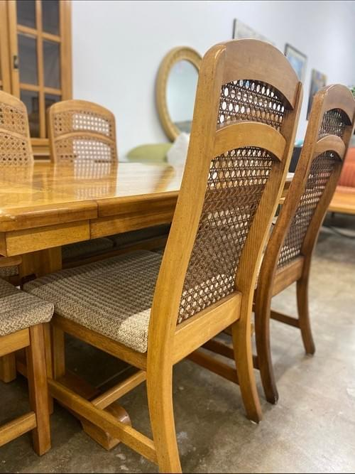 Vintage Dining Set: Parquet Wood Table + Caned Chairs