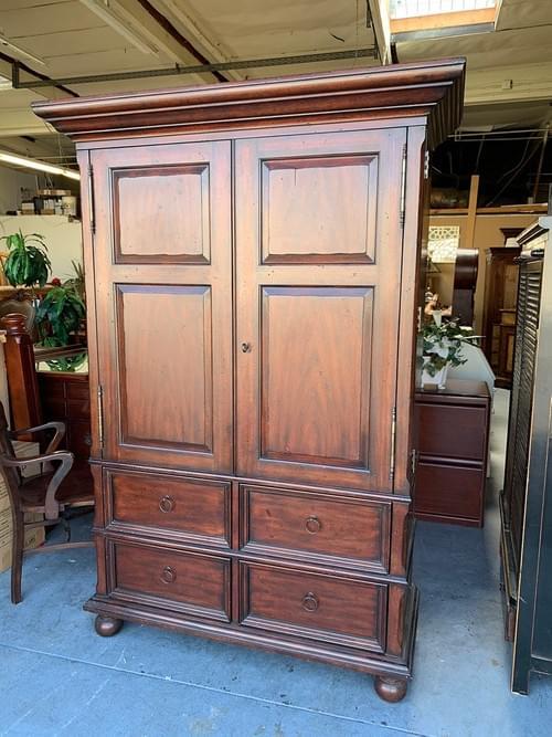 Henredon Dark Mahogany TV Cabinet with Storage, Armoire