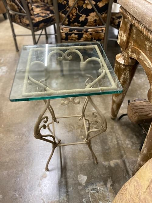Wrought Iron Glass Side Table Indoor/Outdoor