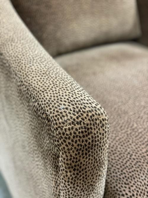 Ethan Allen Emerson Wingback Chair & Ottoman with Leopard Print
