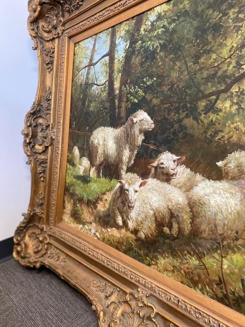 Oil Painting of Lambs in the Woods